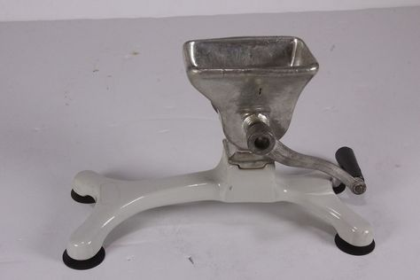 Vintage Manual Hand Crank Food Processor Meat Grinder W/ Base Removeable Handle