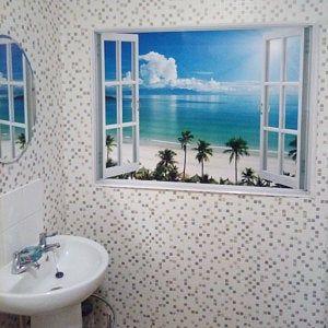 Sunset Beach Wall Sticker 3d Window Tropical Beach Wall Decal