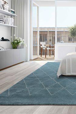 tapis contemporain bleu gris