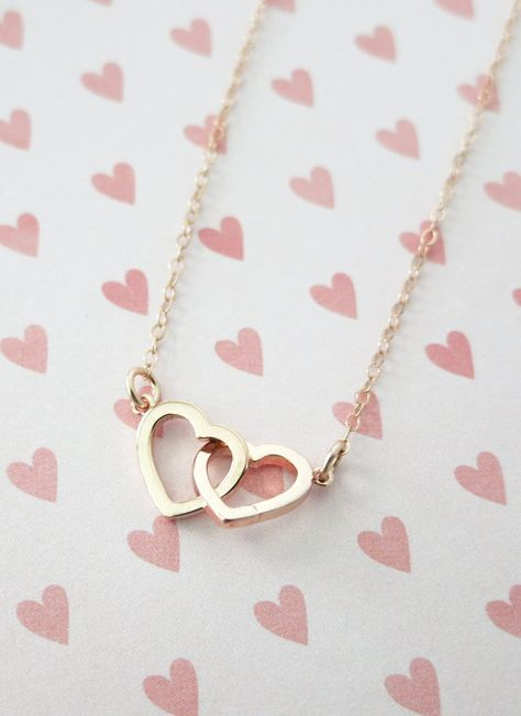 Rose Gold Double Heart Infinity necklace - simple rose gold filled chain, necklace, forever love, best friends, sister, wife, bridesmaids, by ColorMeMissy, www.colormemissy.com