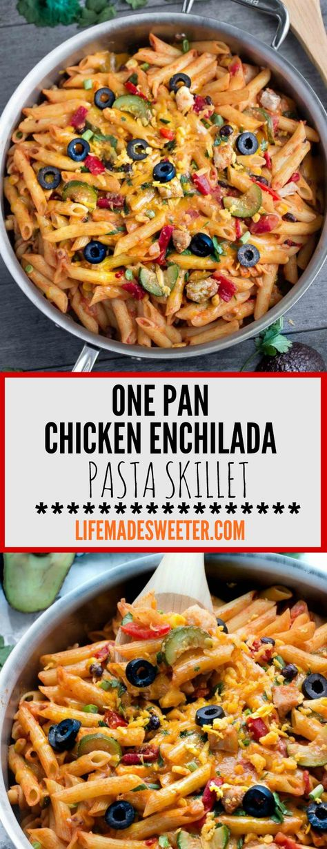 One Pot Chicken Enchilada Pasta Skillet comes together in just 30 minutes and is perfect for busy weeknights! It has all the best enchilada flavors cooked all in the same pan, including the pasta!