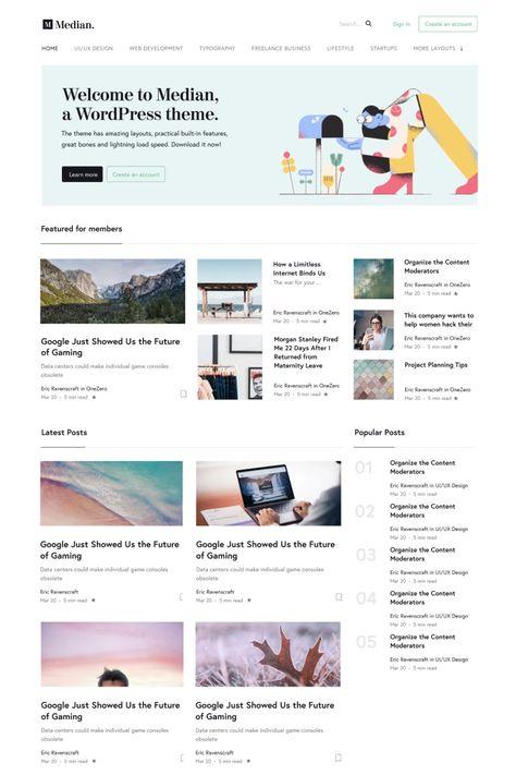 Median - Blog Inspired by Medium's Design WordPress Theme #96287