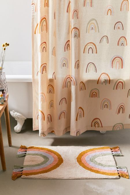Painterly Rainbows Shower Curtain Boho Bathroom Rainbow Shower
