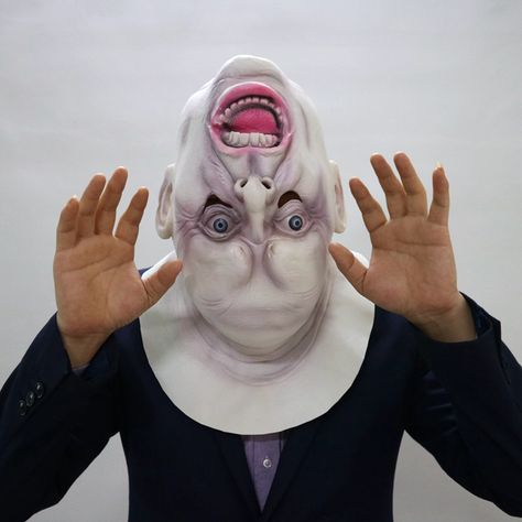 Upside Down Halloween Scary Full Face Head Mask Latex Cosplay Horror Props Party