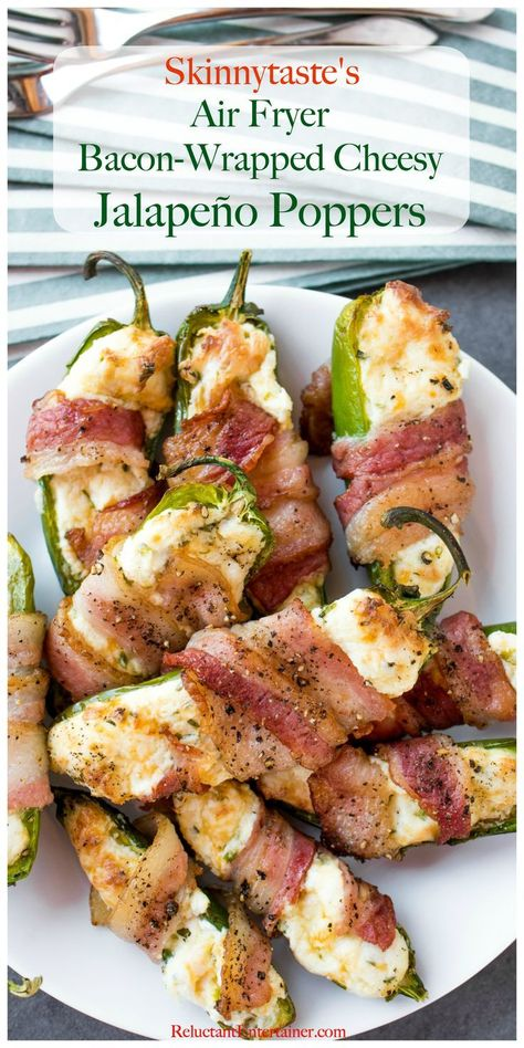 """Bacon-Wrapped Air Fryer Cheesy Jalapeño Poppers, an appetizer made from The Skinnytaste Air Fryer Cookbook! Delicious knowing this recipe is not """"fried. Air Fryer Recipes Breakfast, Air Fryer Oven Recipes, Air Fryer Dinner Recipes, Appetizer Recipes, Appetizers, Air Fryer Recipes Jalapeno Poppers, Bacon Wrapped Jalapeno Poppers, Good Healthy Recipes, Sauces"""