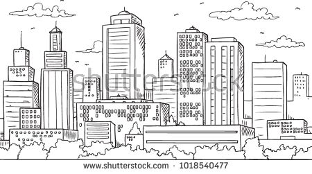 Big City Skyline Drawing Skyline Drawing City Drawing Cityscape Mural