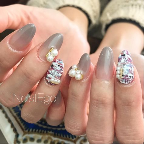 nail tweed×Perl グラデーションはもちろん...