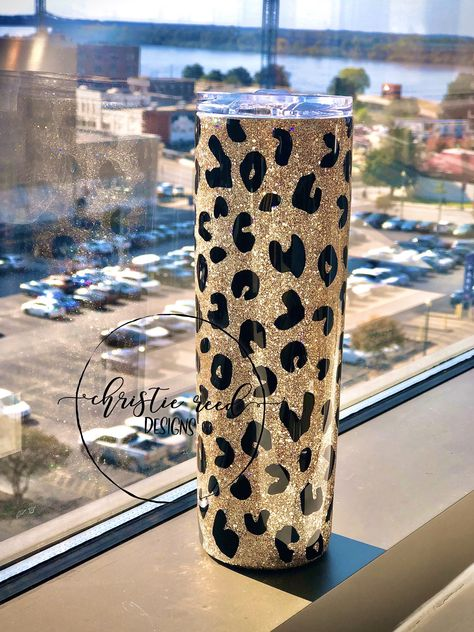 Excited to share this item from my shop: Skinny Glitter Tumbler - Leopard Print - Glittered Tumbler - Stainless Steel Tumbler - Other Sizes and Styles Available! Diy Tumblers, Plastic Tumblers, Custom Tumblers, Glitter Cups, Gold Glitter, Homemade Xmas Gifts, Glitter Tumblr, Pearl Ex, Personalized Teacher Gifts