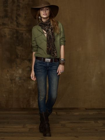 Green safari shirt (I have), jeans, belt, scarf we are gonna sell with bag in hand