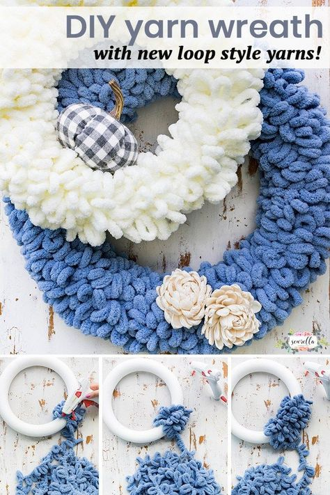 DIY this yarn loop wreath with the new Bernat Blanket EZ yarn from JOANN! It's a simple 10 minute DIY that you can make for your fall decor quick and easy, no crocheting or knitting required! # Easy DIY wreath DIY Yarn Loop Wreath with Bernat Blanket EZ Diy Yarn Wreath, Wreath Crafts, Yarn Crafts, Diy And Crafts, Arts And Crafts, Yarn Wreaths, Twine Wreath, Mesh Wreaths, Floral Wreaths