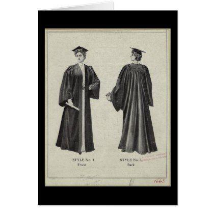 Vintage Graduation Woman In Cap Gown Black Card Zazzle Com Vintage Graduation Cap And Gown Vintage