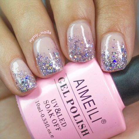How To Get Simple Glittery Nails At Home | AIMEILI ( I-May-Lee )