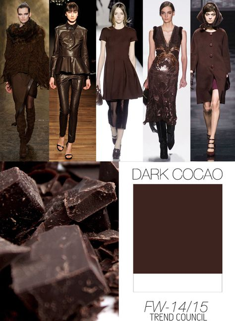 FW 2014-2015 color trend dark cocao This is for Fall, but color is def going towards to the brown casts for Summer