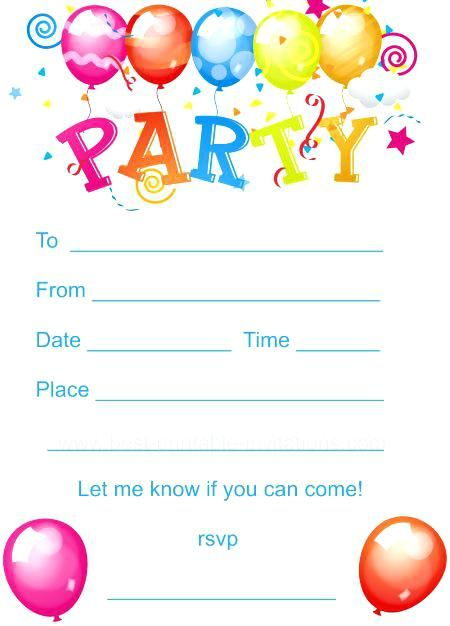 Free Printable Children S Birthday Party Invitations Birthday Party Invitations Printable Party Invite Template Kids Birthday Party Invitations