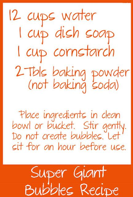super bubble recipe (and suggestion of secret dollar store ingredient (not shown)!