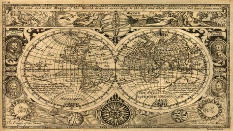 A New And Accurate Map Of The World 1628.Giant Historic 1628 Old Map Antique Restoration Hardware Style World