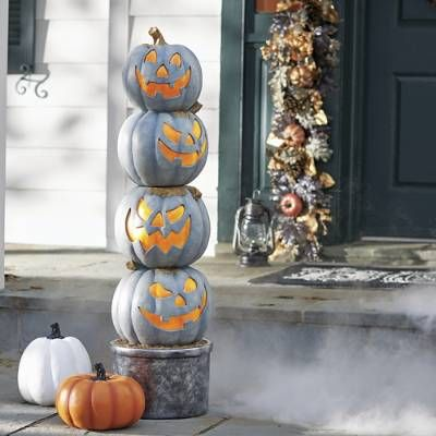 Pre Lit Jack O Lantern Topiary Jack O Lantern Halloween Outdoor Decorations Shop Wall Decor