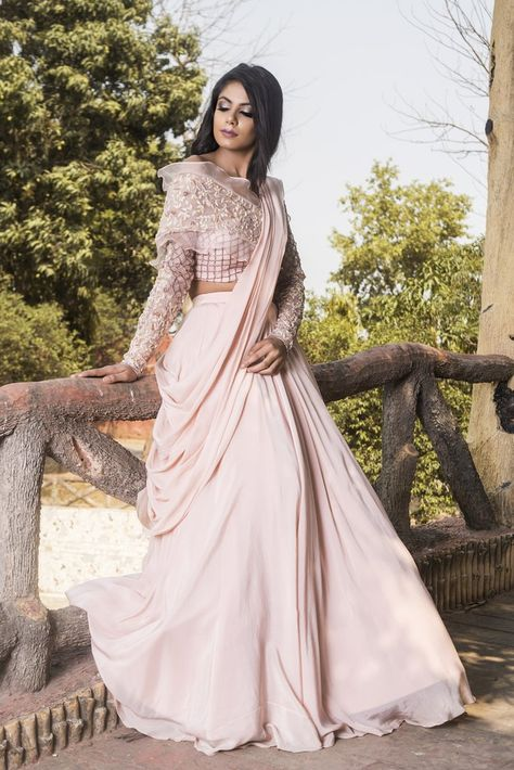 Rose pink hand embroidered organza blouse with lehenga set. Fabric: Crepe; Organza Care: Dry Clean Only