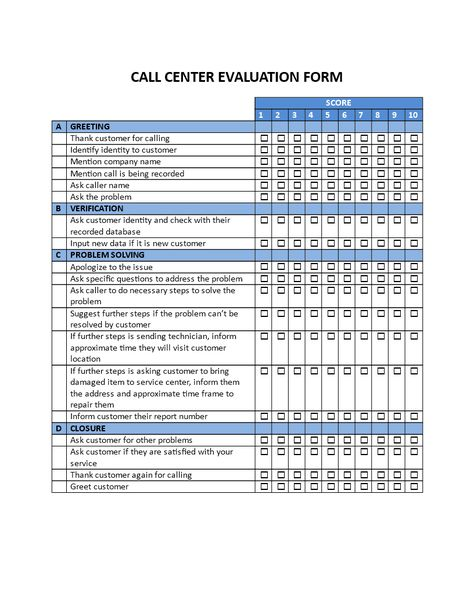 Call Center Evaluation Form - Call Center Evaluation Form - sample employee evaluation form