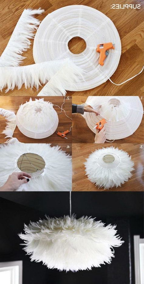 Build chandeliers yourself from IKEA lampshade - DIY instructions .- Kronleuchter selber bauen aus IKEA Lampenshirm – DIY Anleitung – Haus Dekoration Mehr Build chandeliers yourself from IKEA lampshade – DIY instructions – house decoration more - Bubble Chandelier, Diy Chandelier, Diy Home Crafts, Diy Crafts To Sell, Cloud Lampshade, Feather Lamp, Wedding Wholesale, Diy Sewing Projects, Diy On A Budget