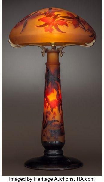 Art Glass Galle Galle Overlay Glass Iris Study Lamp Circa 1900