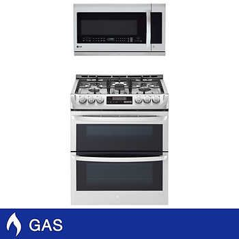Lg 2 Piece Gas Cooking Pair With 6 9cuft Double Oven Range And 2 2