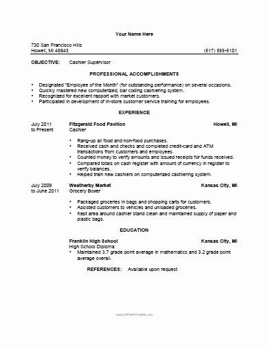 Grocery Store Clerk Resume Inspirational Cashier Resume Template Free Printable In 2020 Cashiers Resume Job Resume Samples Sample Resume Templates