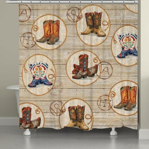 Laural Home Western Boots Shower Curtain 71x72 Wb72sc In 2020