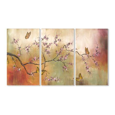Winston Porter Pink Blossoms And Butterflies Triptych 3 Piece Painting Print Set Wayfair Ca In 2020 Triptych Art Triptych Wall Art 3 Piece Canvas Art