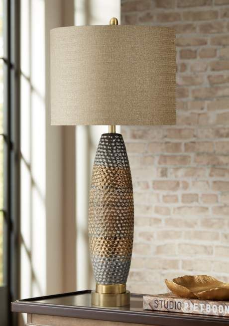 Laughlin Gold And Gray Modern Ceramic Table Lamp 1x370 Lamps Plus In 2020 Ceramic Table Ceramic Table Lamps Table Lamp