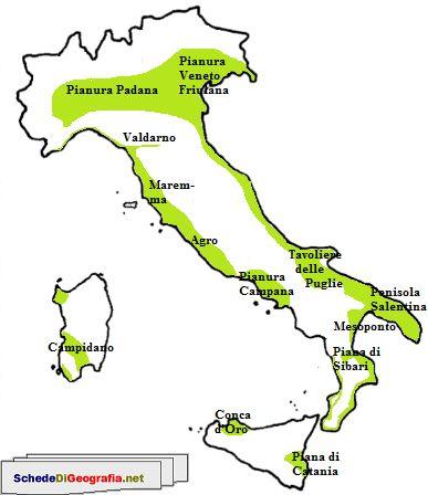 Cartina Italia Con Montagne Colline E Pianure.Cartina Delle Pianure Italiane Scuola Geografia Fisica E Scuola