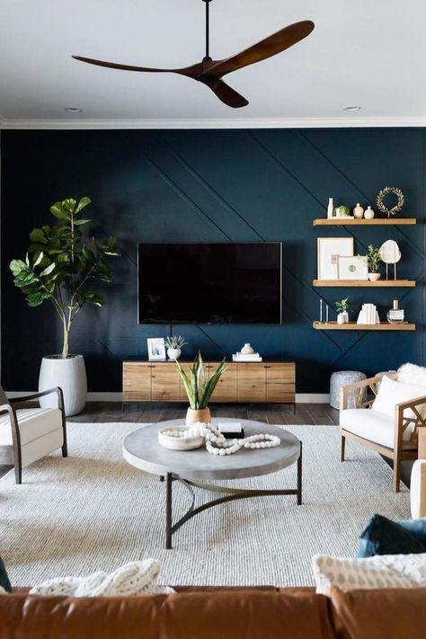 Accent Walls In Living Room, New Living Room, Dark Living Rooms, Blue Feature Wall Living Room, Living Room Ideas For Walls, Living Room Modern, Livingroom Paint Ideas, Living Room With Color, Wood Accent Walls