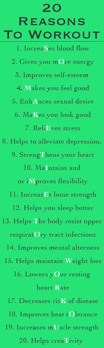 20 Reasons To Workout...believe all of this, it is so true!!!