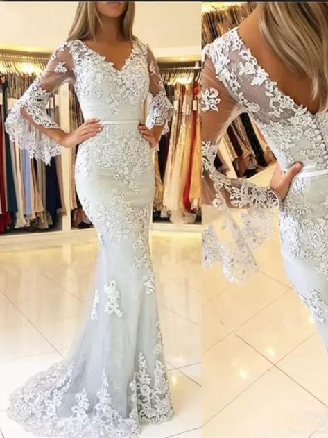 Elegant Mermaid Lace V-Neck Long Prom Formal Evening Gowns Mother of The Bride Dresses #motherofthebridedresses #motherofthegroomdresses #elegantmotherofthegroomdresses