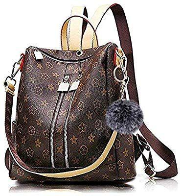Leibu Women S Pu Leather Vintage Large Backpack Handbag Shoulder Bag Shoulder Bag Women S Pu Leather Zip Handtasche Umhangetasche Schultertasche Rucksack Damen