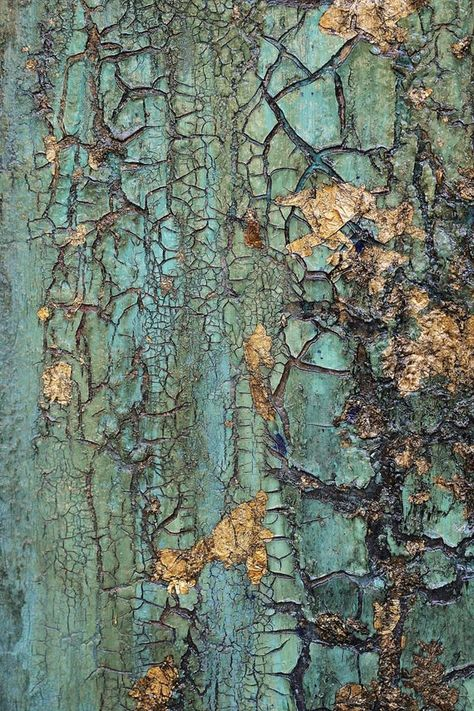Abstract Texture Painting Turquoise Blue Green Gold Leaf image 4