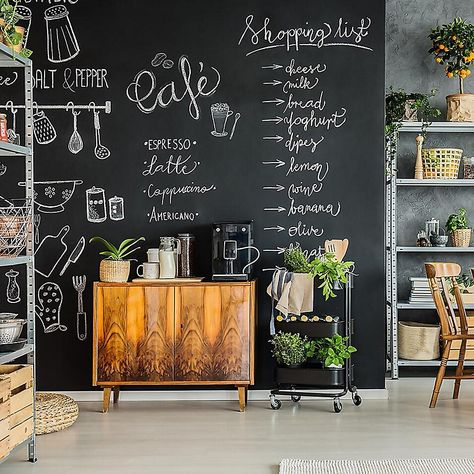 Peel and stick chalkboard black / Chalkboard decal / Chalkboard removable wallpaper / Self-adhesive chalkboard wall mural Chalkboard Wall Kitchen, Chalkboard Wallpaper, Black Chalkboard, Diy Chalkboard, Chalkboard Wall Bedroom, Chalk Board Kitchen Wall, Magnetic Chalkboard Paint, Chalkboard Drawings, Chalkboard Lettering