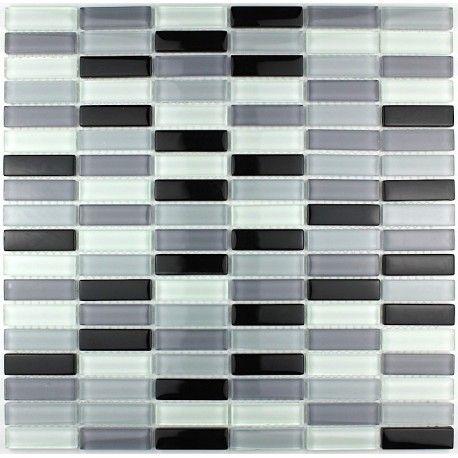 Mosaique Verre Salle De Bain Rectangular Noir Avec Images