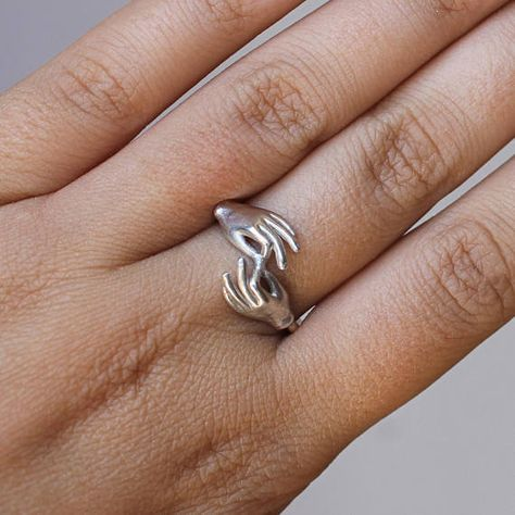 Silver ring two hands unique design ring  TOGETHER