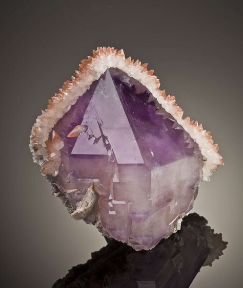 Quartz Var Amethyst With Calcite, Fengjiashan Mine, Daye Co., Hubei Province, China, Cabinet, 11.0 x 10.8 x 8.6 cm, A superbly balanced specimen of dark amethyst for this locality, draped with attractive and contrasting white calcites, sprinkled with a hint of red hematite staining., For sale from The Arkenstone, www.iRocks.com. For more details on this piece and others, visit http://www.irocks.com/minerals/specimen/40429