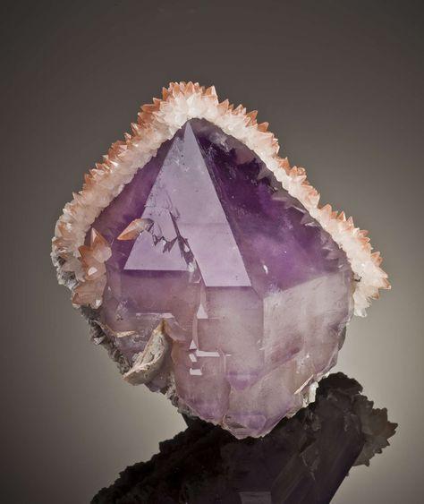 Quartz var Amethyst with Calcite Fengjiashan Mine, Daye Co., Hubei Province, China Cabinet, x x cm