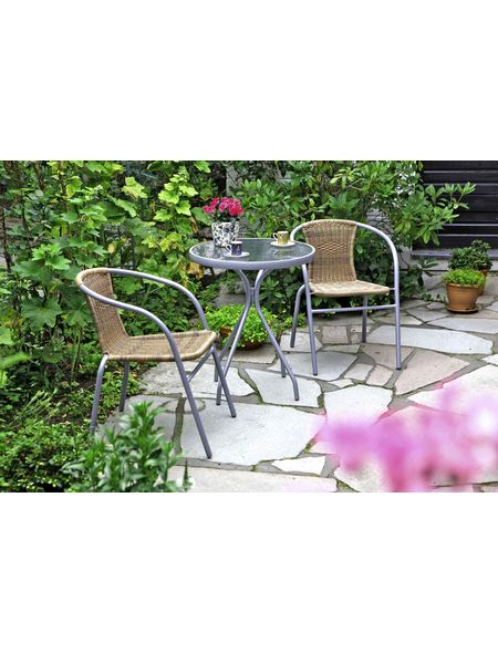 Sitzgruppe 2 Personen Stapelsessel Runder Tisch Pulverbeschichtetes Stahlgestell Kunststoffg Hagebaubaumarkt Merxx Ba Gartenmobel Gartenstuhle Garten