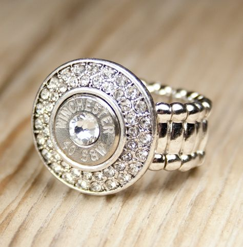 Nickel Bling!Bang! 40 Caliber Bullet Ring