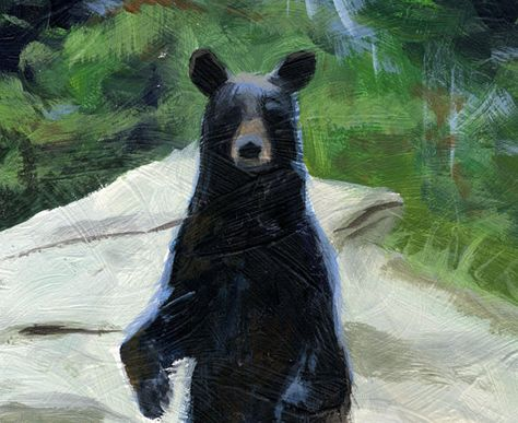 Black Bear in a Forest- Original Acrylic Painting- White Rock Stone- Green Trees- Fine Art Painting
