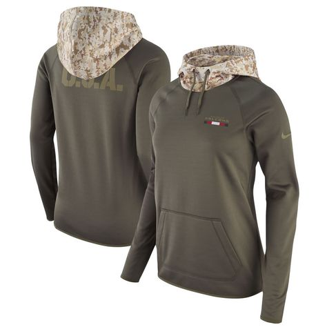81f049546 Atlanta Falcons Nike Women's Salute to Service Performance Pullover Hoodie  - Olive
