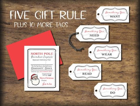 Items similar to 5 Gift Rule Tags & Christmas Card. Santa 4 Gift Rule. Instant download printable. Five Four. Him her child kid friend husband wife spouse. on Etsy
