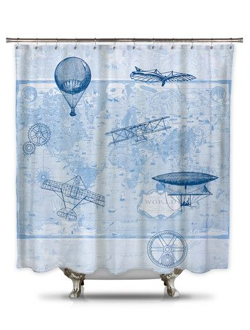 Hot Air Balloon Dream Print Flying In Sky Polyester Fabric Shower Curtain 72Inch