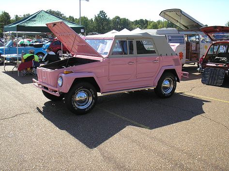 "Pink 1973 Volkswagen ""Thing"" (Type - cute little thing. Volkswagen Karmann Ghia, Volkswagen Golf, Volkswagen Models, Volkswagen Thing, Dream Cars, My Dream Car, Audi Tt, Ford Gt, Vw Bus"