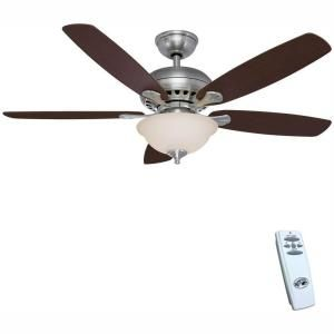 Hampton Bay Southwind 52 In Led Indoor Brushed Nickel Ceiling Fan With Light Kit And Remote Control 52379 The Home Depot In 2020 Ceiling Fan Ceiling Fan With Light Brushed Nickel Ceiling Fan