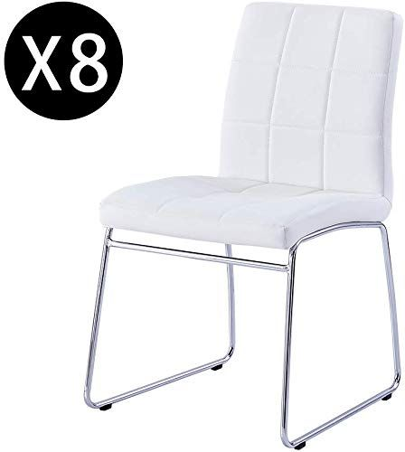 Amazing Offer On Modern Dining Chairs Set 8 Dining Room Chairs Faux Leather Padded Seat Back Checkered Pattern Sled Chrome Legs Kitchen Chairs Dining Roo In 2020 Modern Dining Chairs Dining